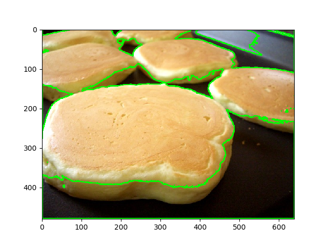 Detected contours of pancake image