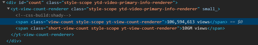 YouTube Video Views HTML Tag
