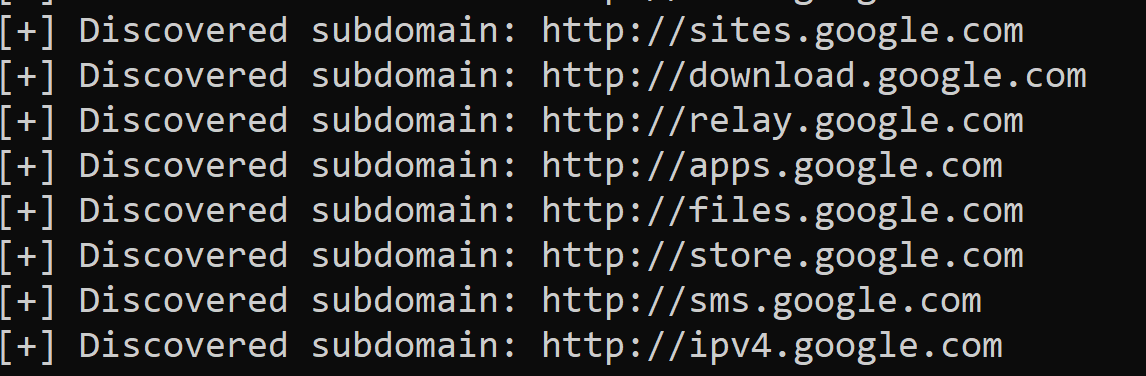 Result of Subdomain scanner in Python